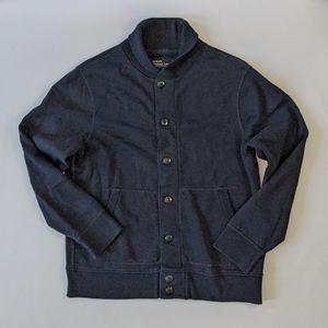 J. Crew Outerwear Fleece Navy Blue Button Up Cardigan Men sz L